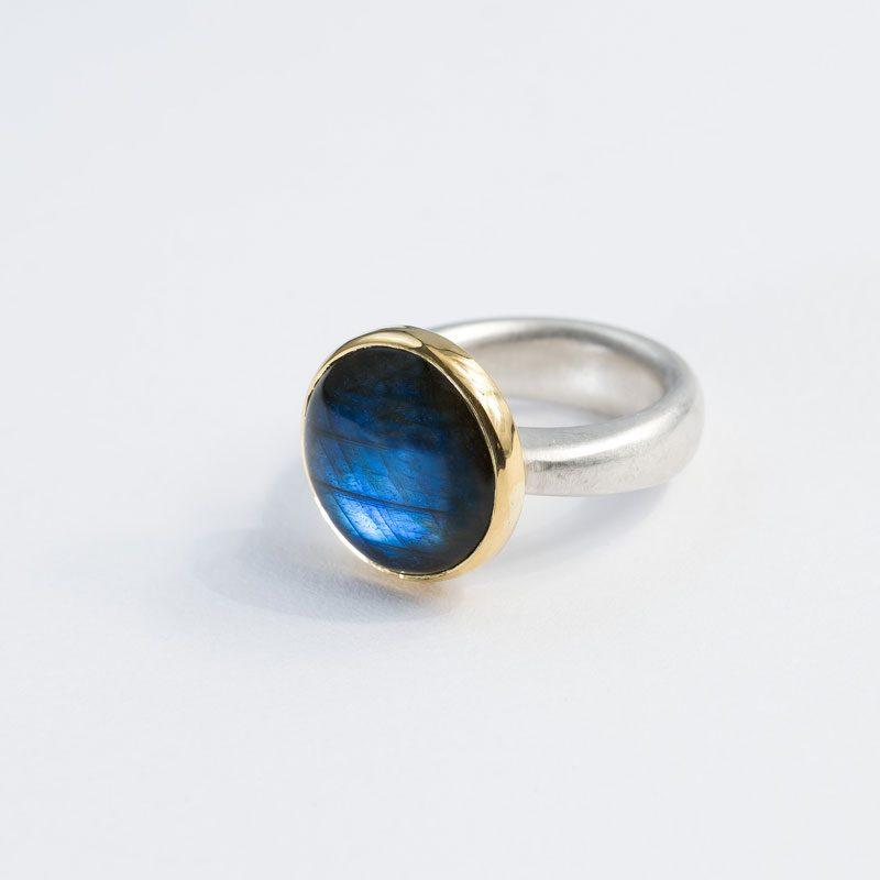 Ring Silber Gold, Labradorith