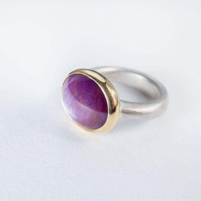 Ring Silber Gold Sternrubin