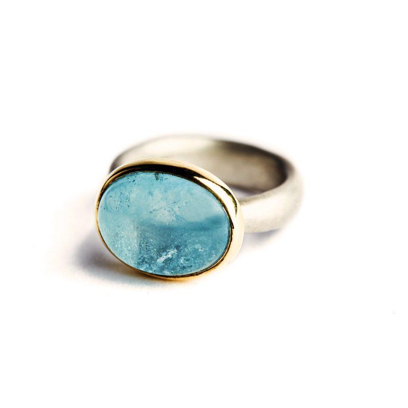 Ring  Aquamarin  750 Gold Silber